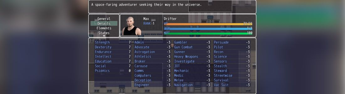 cosmic drifter character sheet and skills list using rpg maker mv